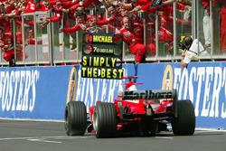 Second place finish and seventh World Championship for Michael Schumacher, Ferrari