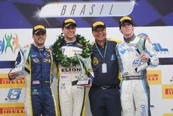 Pódio da primeira corrida da F3 Brasil em Interlagos