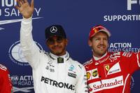 Qualifying Top 3: polesitter Lewis Hamilton, Mercedes AMG F1, third place Sebastian Vettel, Ferrari