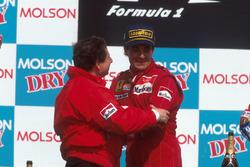 Podium: race winner Jean Alesi, Ferrari, Jean Todt