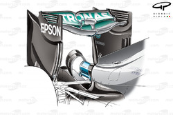 Mercedes F1 W07 'Spoon' rear wing and hooped monkey seat
