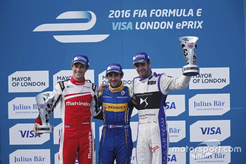 London, Samstagsrennen: 1. Nicolas Prost, 2. Bruno Senna, 3. Jean-Eric Vergne