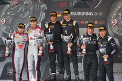 Podium: winner #58 Garage 59 McLaren 650S GT3: Rob Bell, Alvaro Parente, second place #28 Belgian Audi Club Team WRT Audi R8 LMS Ultra: Will Stevens, René Rast, third place #86 HTP Motorsport Mercedes AMG GT3: Jules Szymkoviak, Bernd Schneider