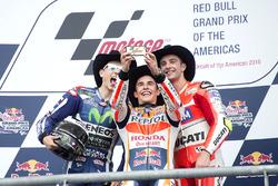 Podium: Race winner Marc Marquez, Repsol Honda Team, Honda; second place Jorge Lorenzo, Movistar Yamaha MotoGP, Yamaha; third place Andrea Iannone, Ducati Team, Ducati