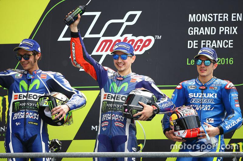 Valentino Rossi, Jorge Lorenzo y Maverick Viñales