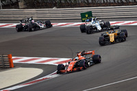 Fernando Alonso, McLaren MCL32, Carlos Sainz Jr., Renault Sport F1 Team RS17, Lance Stroll, Williams FW40 and Romain Grosjean, Haas F1 Team VF-17