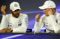 Lewis Hamilton, Mercedes AMG F1 and race winner Valtteri Bottas, Mercedes AMG F1 in the Press Conference