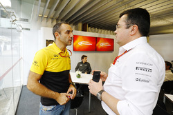 Cyril Abiteboul, Managing Director, Renault Sport F1 Team, Fernando Alonso, McLaren, Eric Boullier, Racing Director, McLaren