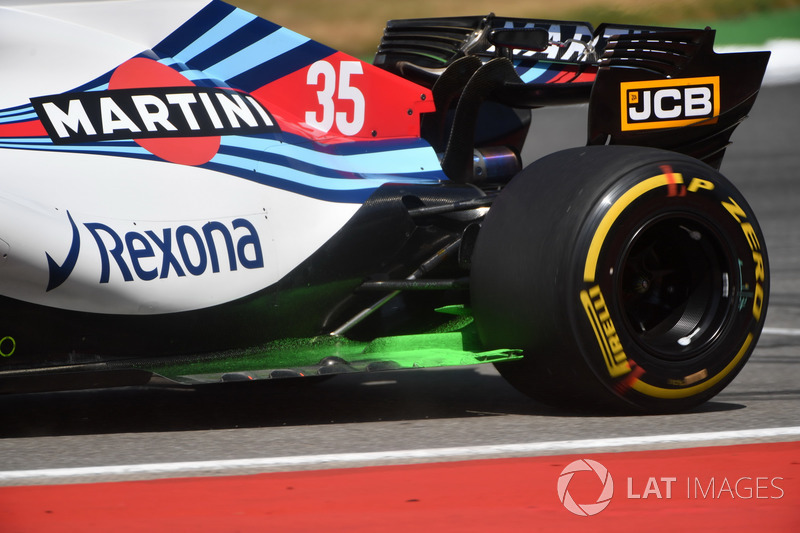 Lance Stroll, Williams FW41 with aero paint on the rear floor