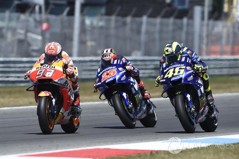 Marc Marquez, Repsol Honda Team, Valentino Rossi, Yamaha Factory Racing, Maverick Viñales, Yamaha Factory Racing