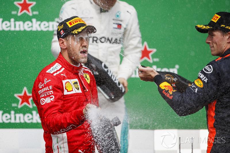 Valtteri Bottas, Mercedes AMG F1, 2nd position, Sebastian Vettel, Ferrari, 1st position, and Max Verstappen, Red Bull Racing, 3rd position, celebrate with Champagne on the podium