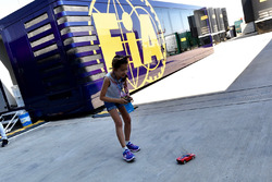 Young fan and radio controlled car