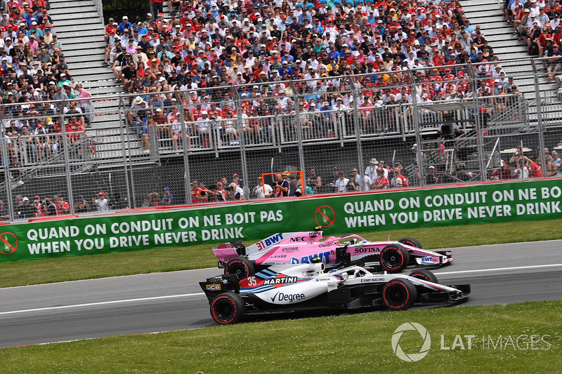 Sergey Sirotkin, Williams FW41 and Esteban Ocon, Force India VJM11 battle
