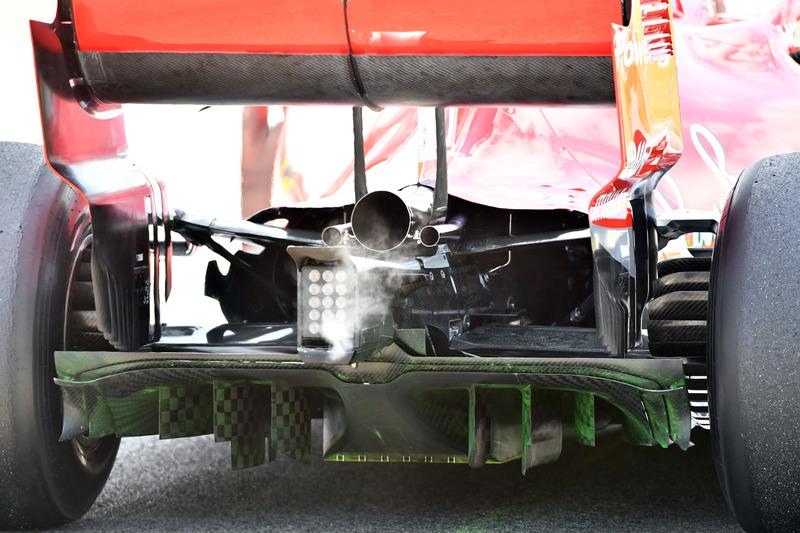 Le diffuseur de la Ferrari SF-71H et de la peinture Flo-Vis