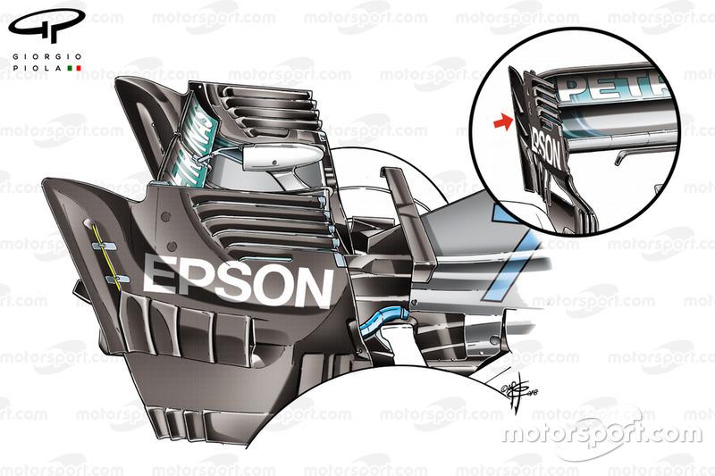 Mercedes AMG F1 W09 hátsó szárny összevetése, Szingapúr GP