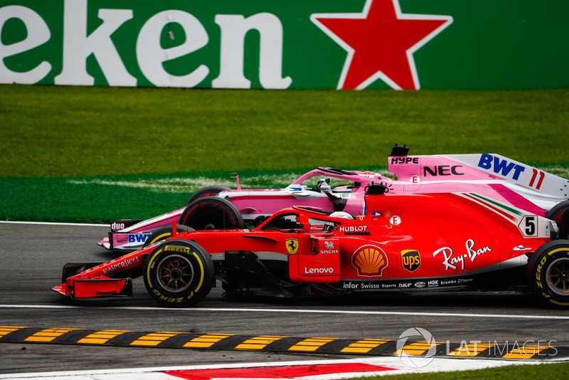 Sebastian Vettel, Ferrari SF71H, y Sergio Perez, Racing Point Force India VJM11