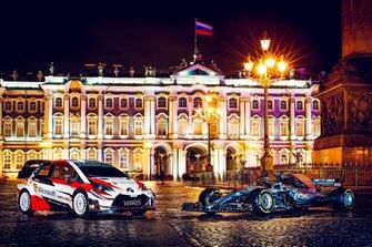 Toyota Yaris WRC and Mercedes-AMG F1 W09