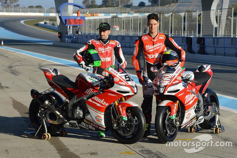 Lorenzo Savadori, Milwaukee Aprilia World Superbike Team, Eugene Laverty, Milwaukee Aprilia World Superbike Team