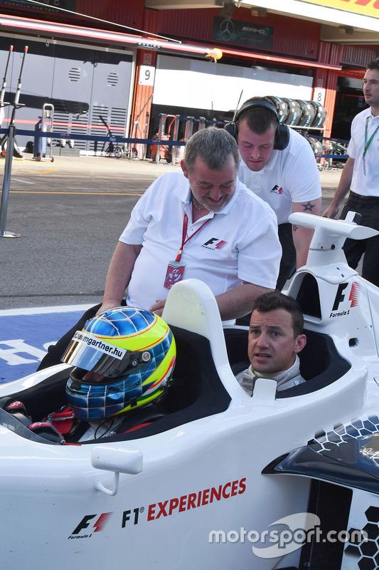 Paul Stoddart, Zsolt Baumgartner, F1 Experiences 2-Seater driver and Will Buxton, NBC TV Presenter