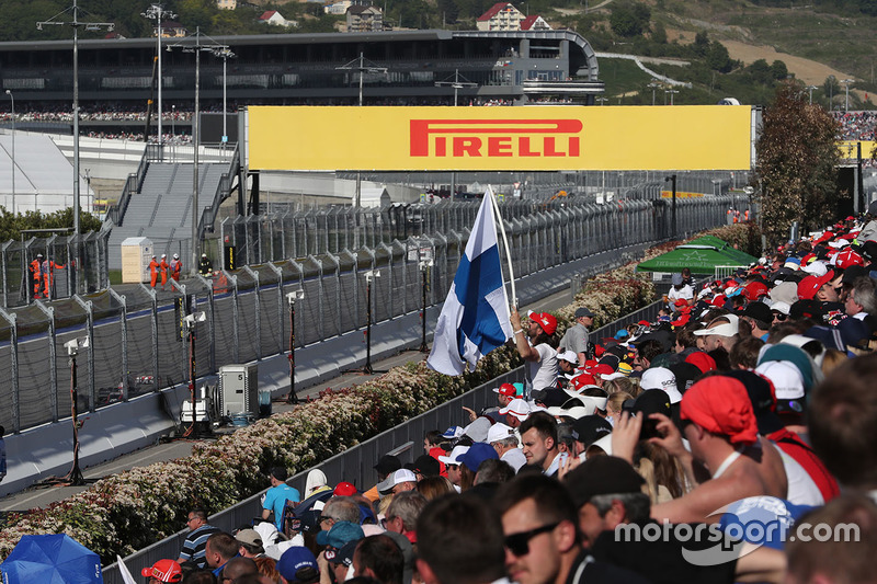 Flag of Finland in the grandstand