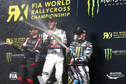 Podium: winner Mattias Ekström, EKS RX, second place Timo Scheider, MJP Racing Team Austria, third place Andreas Bakkerud, Hoonigan Racing Division