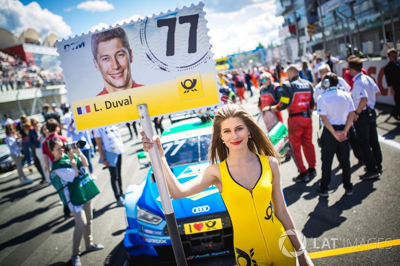 Grid girl of Loic Duval, Audi Sport Team Phoenix, Audi RS 5 DTM