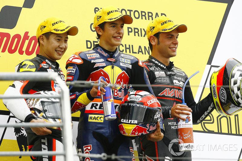 Le podium du GP d'Allemagne 2010 de 125cc : Marc Márquez, Tomoyoshi Koyama, Sandro Cortese
