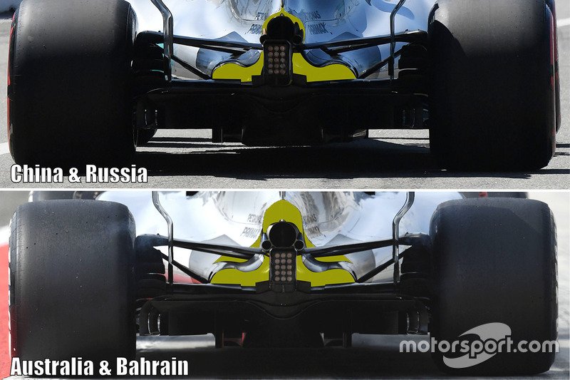 Comparación de la zaga del Mercedes W08 en las cuatro carreras de 2017