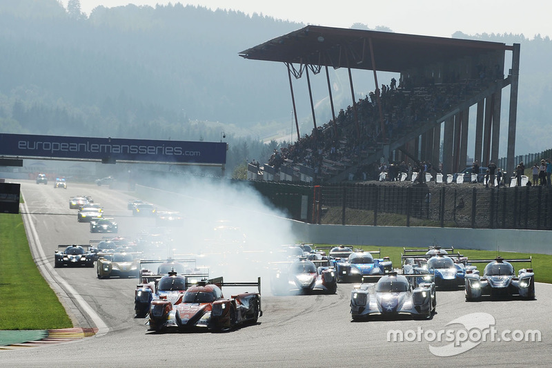 Start: #22 G-Drive Racing, Oreca 07 - Gibson: Memo Rojas, Ryo Hirakawa, Leo Roussel leiden