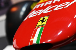 A Ferrari logo on a car in the F1 Racing display