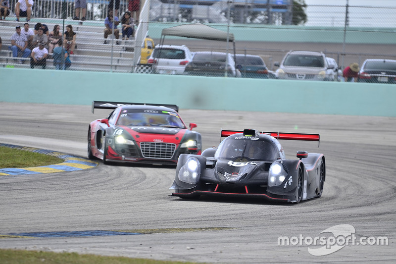 #121 FP1 Ligier LMP3 driven by Henry Gilbert & Ari Rivera of Classic Car Club Miami, #114 MP1A Audi R8 driven by Eric Johnson & Ernie Francis Jr. of ANSA Motorsports