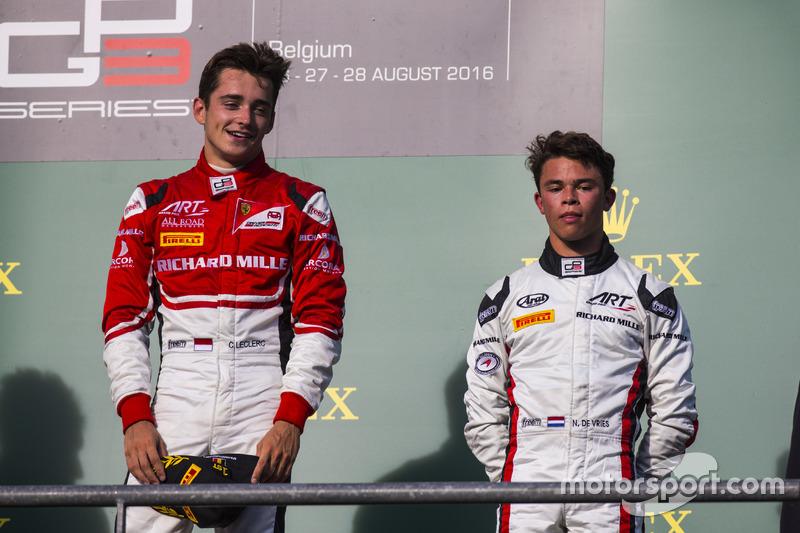 Podyum: 1. Charles Leclerc, ART Grand Prix, 3. Nyck De Vries, ART Grand Prix