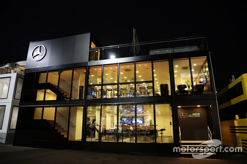 Mercedes AMG F1 motorhome at night