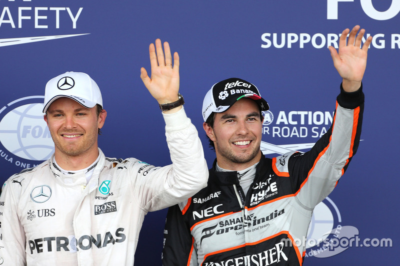 Nico Rosberg, Mercedes AMG F1 Team y Sergio Pérez, Sahara Force India