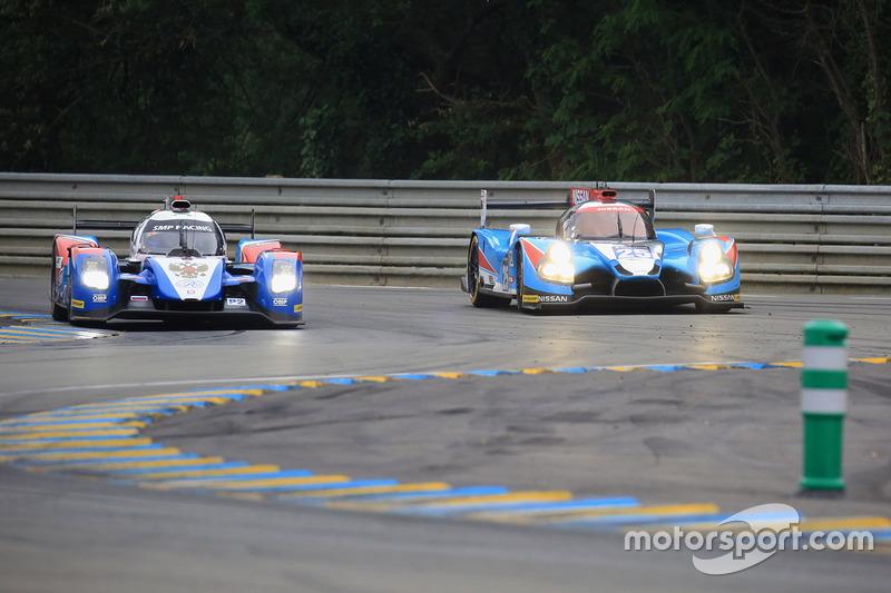 #27 SMP Racing BR01 Nissan: Nicolas Minassian, Maurizio Mediani, Mikhail Aleshin and #25 Algarve Pro Racing Ligier JSP2 Nissan: Michael Munemann, Chris Hoy, Parth Ghorpade
