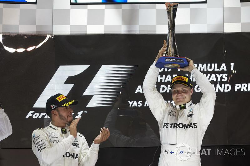 Podyum: 2. Lewis Hamilton, Mercedes AMG F1, yarış galibi Valtteri Bottas, Mercedes AMG F1