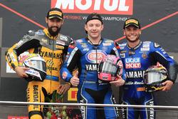 Podium : le vainqueur Lucas Mahias, GRT Yamaha Official WorldSSP Team, le deuxième, Randy Krummenacher, BARDAHL Evan Bros. WorldSSP Team, le troisième, Sandro Cortese, Kallio Racing