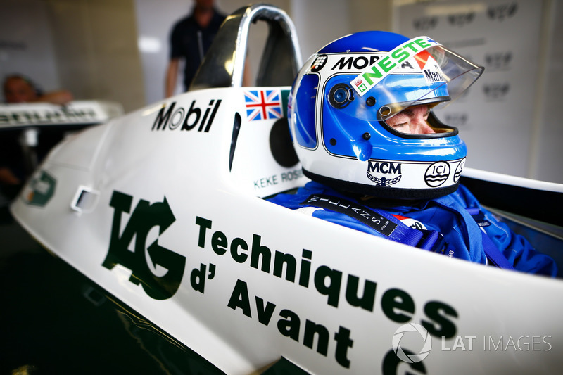 Former World Champions, Keke Rosberg and his son Nico Rosberg, prepare to lap the circuit in their title winning cars