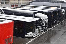 FIA trucks in the Paddock as snow stops testing