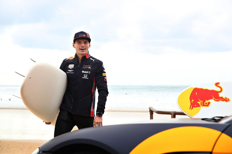 Max Verstappen, Red Bull Racing prepares to go surfing