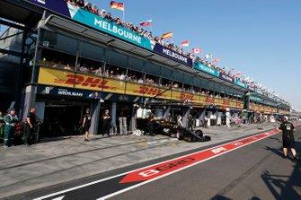 Kevin Magnussen, Haas F1 Team VF-19, leaves the garage