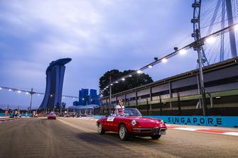 Charles Leclerc, Alfa Romeo Sauber F1 Team, on an Alfa Romeo Spyder, on the drivers' parade
