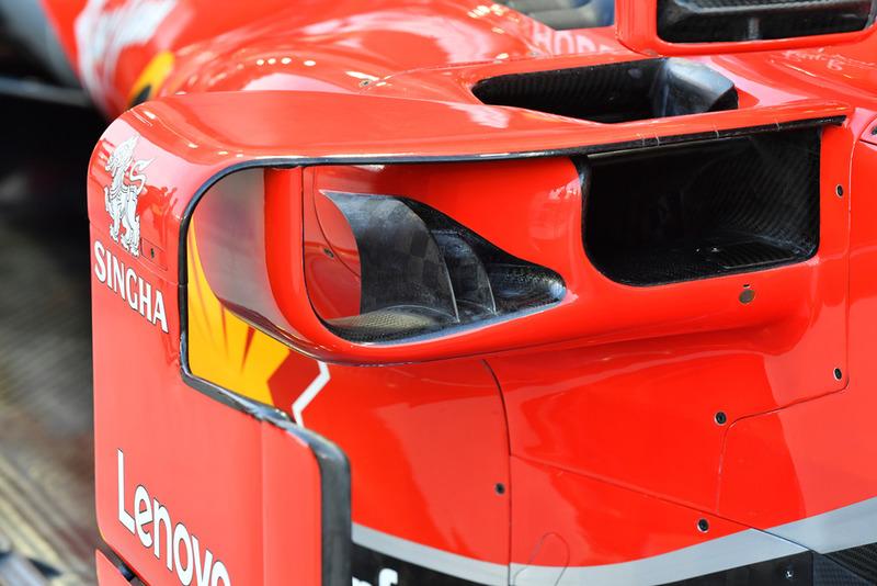 Ferrari SF71H sidepod ve barge board detayı