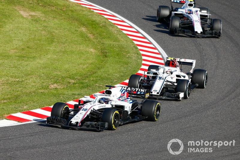 Lance Stroll, Williams FW41, leads Charles Leclerc, Sauber C37, and Sergey Sirotkin, Williams FW41