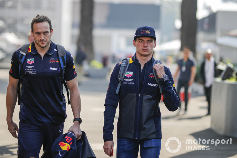 (L to R): Jake Aliker, Personal Trainer Red Bull Racing and Max Verstappen, Red Bull Racing ..