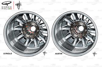 Comparason des roues de la Mercedes W09