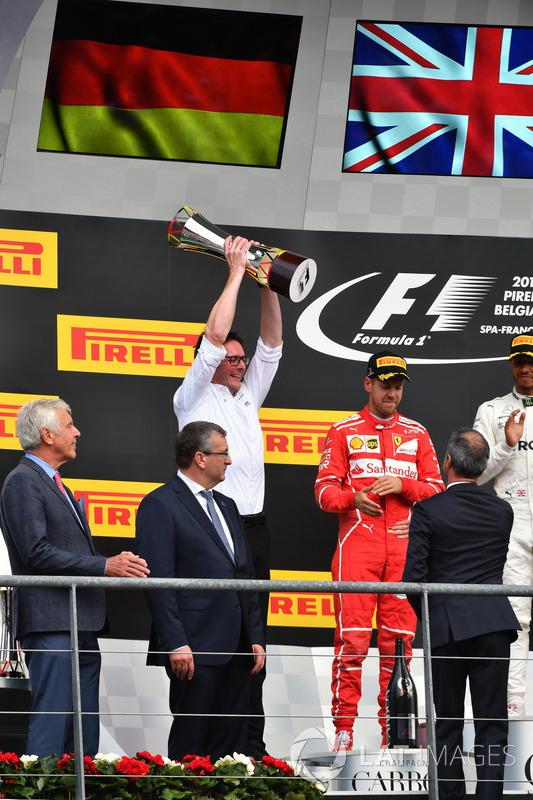 Andy Shovlin, Mercedes AMG F1 Engineer, celebrates on the podium