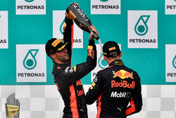 Daniel Ricciardo, Red Bull Racing and Max Verstappen, Red Bull Racing celebrate on the podium, the c