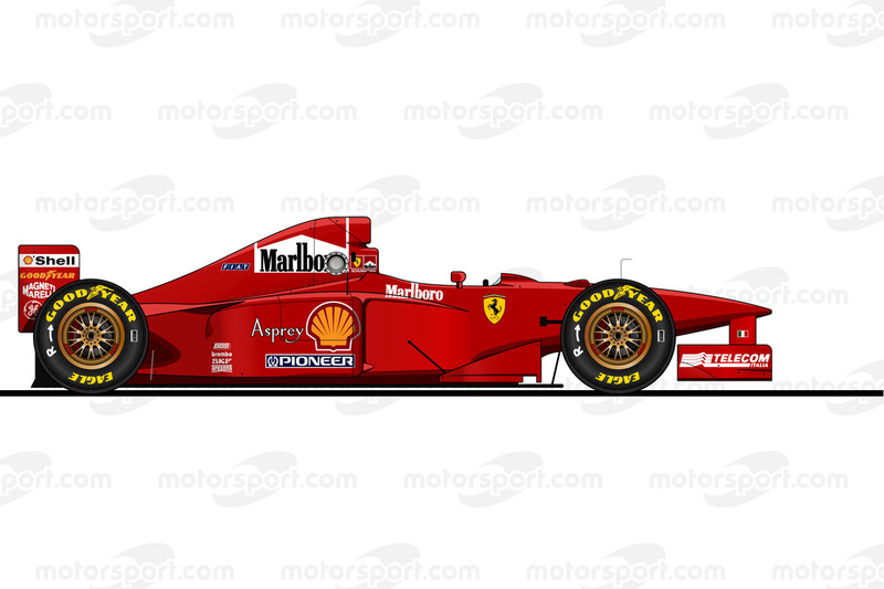 El Ferrari F310B conducido por Michael Schumacher en 1997. Prohibida la reproducción, Motorsport.com exclusivo. ¿Uso comercial? mail to:fr.adsales@motorsport.com fr.AdSales@Motorsport.com