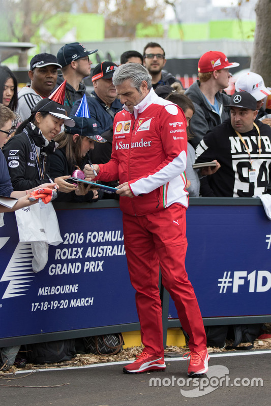 Maurizio Arrivabene, Ferrari Team Principal signs autographs for the fans